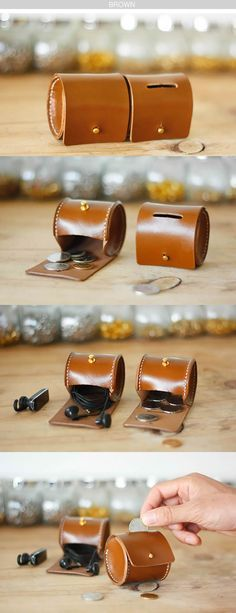 Handmade Cylinder Shaped Leather Coin Purse, THINK BIG shop small for your leathercraft supplies at Standing Bear's Trading… Leather Art, Leather Design, Leather Tooling, Leather Purses, Leather Wallet, Diy Leather Coin Purse, Leather Backpack, Conception En Cuir, Crea Cuir