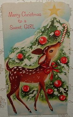 UNUSED - Fawn Licking Candy Cane on Tree - 1950's Vintage Christmas Card