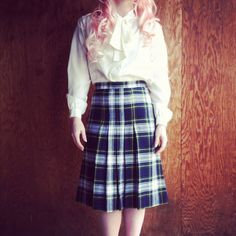 Playful Plaid Vintage Plaid Pleated Skirt by TheCupcakeCountessa, $22.00
