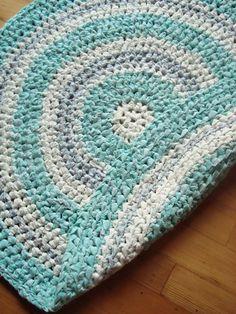Crochet Rag Rug Aqua Round Rag Rug Teal 36 by MarlenesSewingRoom