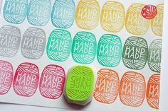 wool yarn hand carved rubber stamp. handmade stamp. knitting crochet stamp. packaging. card making. gift wrapping. for knitters artists