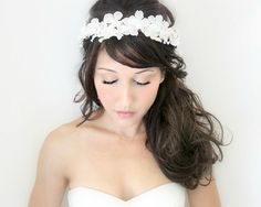 flower crown ivory wedding flower headband hair flower deloop by
