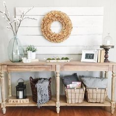 World market Everette console table. DIY shiplap wood pallet.    See this Instagram photo by @thethriftedhouse • 196 likes.