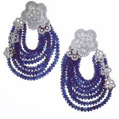 Schreiner Fine Jewellery - Diamond and Sapphire Beads Earrings from the 'La Fleur' Haute Joaillerie Collection.