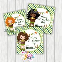 Custom St Patrick's Day Printable Tags- Girl St Patrick's Wishes Personalized Tags-DIY (You Print) tags-Digital File Printable Tags, Printables, Personalized Tags, Day Wishes, Christmas Wishes, Sticker Paper, St Patricks Day, Lettering, Digital