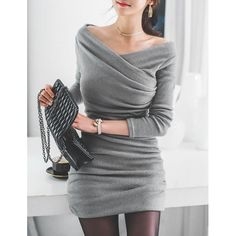 Stylish V-Neck Long Sleeve Ruched Sweater Dress For Women - Womens Fashion Fashion Mode, Look Fashion, Autumn Fashion, Fashion Outfits, Womens Fashion, Dress Fashion, Ladies Fashion, Fashion Clothes, Fashion Trends