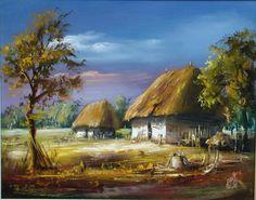 Paintings of Maksai János Cottage Art, Beautiful Landscapes, Home Art, Landscape Paintings, Watercolor Paintings, Sky, Rustic, Drawings, Artwork