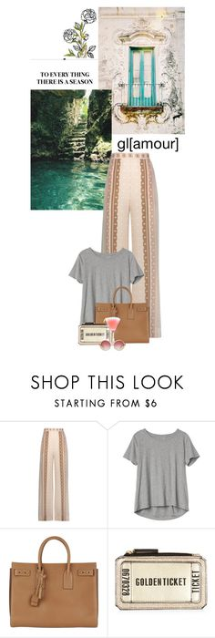 """""""The barefoot holiday"""" by redheadlass ❤ liked on Polyvore featuring Jonathan Simkhai, Gap, Yves Saint Laurent, Chloé, stripedpants, yvessaintlaurent, newlook, lake and gap"""