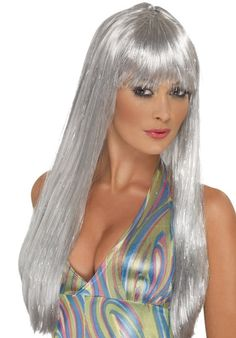 You can buy a Smiffy's Glitter Disco Wig for costume parties from the Halloween Spot. Complete your disco costume with this Long Straight silver wig with Fringe. Afro Blonde, Beauté Blonde, Disco Outfits, Disco Fancy Dress, Pirate Fancy Dress, Dress Up Costumes, Costume Wigs, Fancy Dress Accessories, Costume Accessories