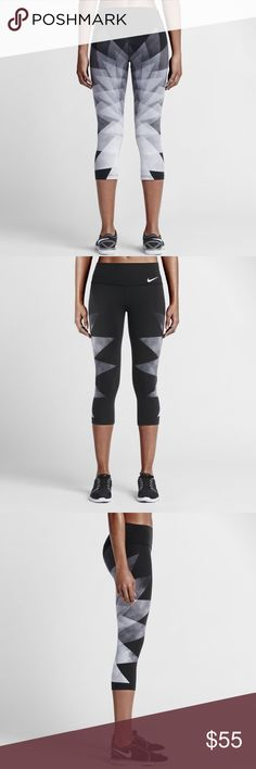 Nike Legendary Waterglass Tights Super stylish Capri leggings with an intricate design on the back side. Very flattering fit with the wide waist band. Small pocket on the inside back. Brand new with tags & never been worn! Nike Pants Leggings