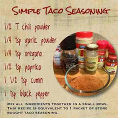 Nutrition with Nat: Favorite Taco Seasoning Mexican Food Recipes, New Recipes, Cooking Recipes, Favorite Recipes, Recipies, Homemade Spices, Homemade Seasonings, Homemade Dry Mixes, Homemade Crafts