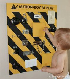 Homemade busy board ( my boys are too big for this but this is an amazing idea that would guarantee hours of play for little ones! )