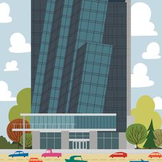 Hyatt Place Downtown - Edmonton Landmark art print, home decor  Edmonton landmark art print with a unique Mid-Century / Folk Art take. A perfect Edmonton gift idea for any city lover or that poor soul that is leaving town. Purchase on www.snowalligator.com  Illustration by local artist Jason Blower  #yeg #yegart #yegwallart #wallart #EdmontonArt #edmontongift #yeggift #snow_aligator #charmingart #cuteart #midCentury #Folkart #cuteart #charmingart #edmontonartist