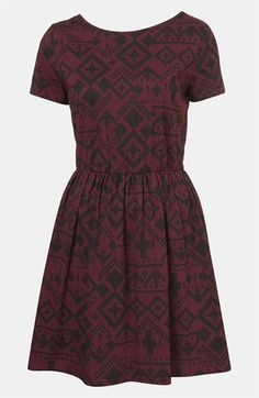 Topshop Fair Isle Jersey Dress. It's got a secretly sexy back for such a modest looking frock.
