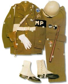 "US Military Police, 1945 01 – M1 helmet, ebonite 02 – woollen shirt 03 – M38 jacket 04 – white MP cord 05 – whistle 06 – armband 07 – belt 08 – gloves 09 – Colt M1911A1 pistol 10 – trousers 11 – sunglasses 12 – MP forage cap 13 – wooden baton 14 – ""Victory"" matches 15 – white leggins 16 – boots"