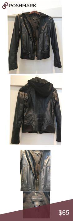 Mango Women's Hooded Leather Jacket Great condition women's hooded sweatshirt lined black leather jacket in XS. Fits like a 0-2. Worn only a few times! Mango Jackets & Coats