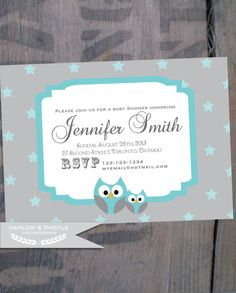 PRINTABLE Baby Shower Invitation  Custom  Blue by HarlowAndThistle, $9.96