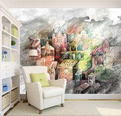 3D-Houses-Sketch-Painting-63-Wallpaper-Decal-Dercor-Home-Kids-Nursery-Mural-Home