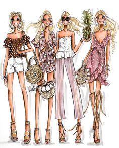 Fashionista illustration by Jen Lublin Design Foto Fashion, Fashion Art, Fashion Beauty, Fashion Illustration Dresses, Fashion Illustrations, Fashion Design Drawings, Fashion Sketches, Bff Drawings, Moda Chic