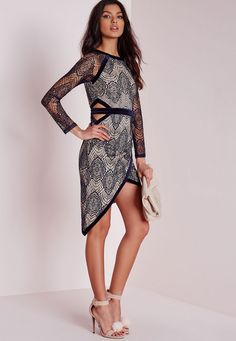 Missguided - Velvet Binding Lace Midi Dress Navy