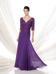 Montage by Mon Cheri - 113906 - Georgette chiffon A-line dress with lace elbow-length sleeves, deep front and back V-necklines, lace bodice with asymmetrically dropped waistline accented with side hand-beaded motif, side gathered skirt with sweep train.  Sizes:4 - 20  Colors: Purple,Light Coffee, Blue Willow, Dusty Rose, Black, Gray