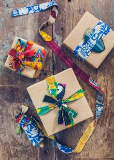 Kantha strips ribbon gift wrapping by the yard by SoulMakes.... Fabric ribbon!!! I think I will!