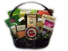 An impressive healthy gift basket for heart surgery recovery.  Foods that are helpful in promoting heart health.