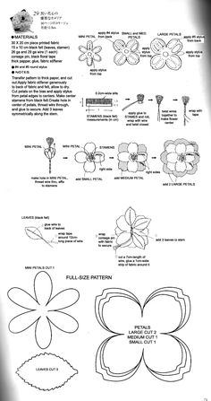 DIY Fabric Flower Patterns - several cute templates