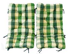 Ambientehome 83 x 43 x 6 cm Balcony Terrasse Foldable Chair Cushion - Checked Green (2-Piece)