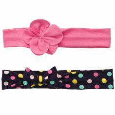 $7.50 2-Pack Headwraps Две повязки на головку с баньтиком и цветочком. Хлопок, спандекс.