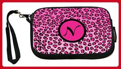 """UKBK Letter """"N"""" Hot Pink Leopard Monogram Neoprene Clutch Wristlet - Wristlets (*Amazon Partner-Link)"""