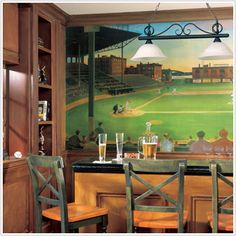 Classic mural for the sports bar home at http://sportsdecorating.com.  Height: 6 feet  Width: 10.5 feet  pre-pasted, washable and strippable.  Think baseball in the time of Babe Ruth. This accent mural makes the perfect backdrop to your bar or media room. Nostalgia reigns with this image. $171.95