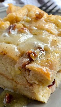 Bread Pudding with Vanilla Bean Sauce #delicious #recipe #cake #desserts #dessertrecipes #yummy #delicious #food #sweet