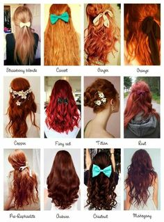 Red Hair Color Chart Lovetoknow – Natural Red Hair Color Chart - All For New Hairstyles Hair Color Names, Shades Of Red Hair, 50 Shades, Orange Shades, Natural Red Hair, Corte Y Color, Strawberry Blonde, Pretty Hairstyles, Dyed Hair