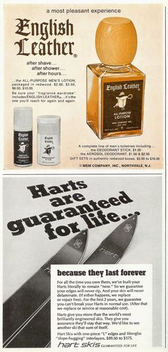 Sell Me Yesteryear: English Leather, and Hart Skis