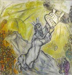 'Mozes ontvangt de stenen tafelen', 1960-1966 / Marc Chagall (1887-1985) / Musée National Marc Chagall, Nice, Frankrijk.
