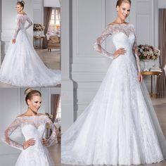 Neue Spitze-lange Hülsen-Hochzeits-Kleider mit Sheer Strand Brautkleider 34 36 +