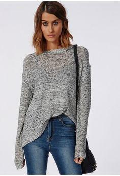 5084f0e29f Zenobia Zip Back Dip Hem Jumper - Knitwear - Missguided
