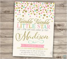 Twinkle Twinkle Little Star Confetti Birthday Invitations Pink Gold faux Glitter Party girl First Birthday Digital Printable Invites First Birthday Invitations, Pink Invitations, Personalized Invitations, Printable Invitations, Fairy Party Invitations, Invites, Princess Invitations, Invitation Ideas, Shower Invitation