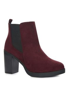 Red Suedette Heeled Chelsea Boot