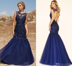 Backless Prom Dresses Navy Blue Tulle Mermaid Sheer Jewel Neck Beading Sequin 2016 Sexy Women Formal Evening Wears Pageant Dress Custom Made Online with $126.89/Piece on Sweet-life's Store | DHgate.com