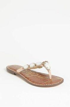 New Sam Edelman Womens Gracelyn Pink Leather Slip On Flip Thong Sandals 7.5