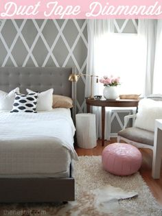Love the walls! Diamond pattern walls #walls #paint #duct_tape bedrooms