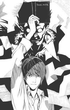 Light Yagami and Ryuk It looks like he's whacking Ryuk with the deathnote and the pages are scattering because of that