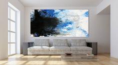 Modernes Acrylbild abstrakt weiß/blau 200x100cm von xxl-art.de