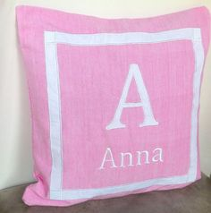 Monogrammed girls nursery bedroom pillow covers by Snazzyliving