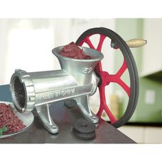 High-capacity Kitchener grinder can be operated manually. Or you can power it with an electric motor (max. 1 HP, 1700 RPM, motor not included) using the V-belt pulley, to process up to 600 lbs. of meat per hour. Heavy-duty cast iron unit is ideal for prep