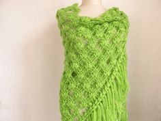 Christmas gift GREEN shawl  Crochet shawl ..wedding by asuhan, $70.00
