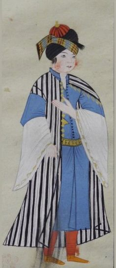 """42v An Arabian wearing a robe with black and white vertical stripes over a pale blue short-sleeved garment. Red trousers, yellow shoes, gold belt and buttons, red cap in a black turban with a gold, blue and red cloth around it. Wide sleeved undergarment.  Peter Mundy's Album, """"A briefe relation of the Turckes, their kings, Emperors, or Grandsigneurs, their conquests, religion, customes, habbits, etc""""  Istanbul 1618"""