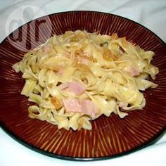 Easy Ham and Noodles - Great for leftover ham. This is easy to make with ingredients you probably already have in the kitchen. Try adding peas or other vegetables, if desired. Diced Ham Recipes, Leftover Ham Recipes, Baked Pasta Recipes, Pork Recipes, Cooking Recipes, Recipies, Macaroni Recipes, Goulash Recipes, Amish Recipes